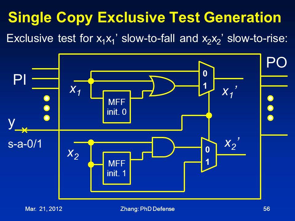 Single Copy Exclusive Test Generation Mar. 21, 201256 x1x1 x1'x1' x2'x2' x2x2 MFF init. 1 s-a-0/1 0 1 MFF init. 0 0 1 PO PI Exclusive test for x 1 x 1