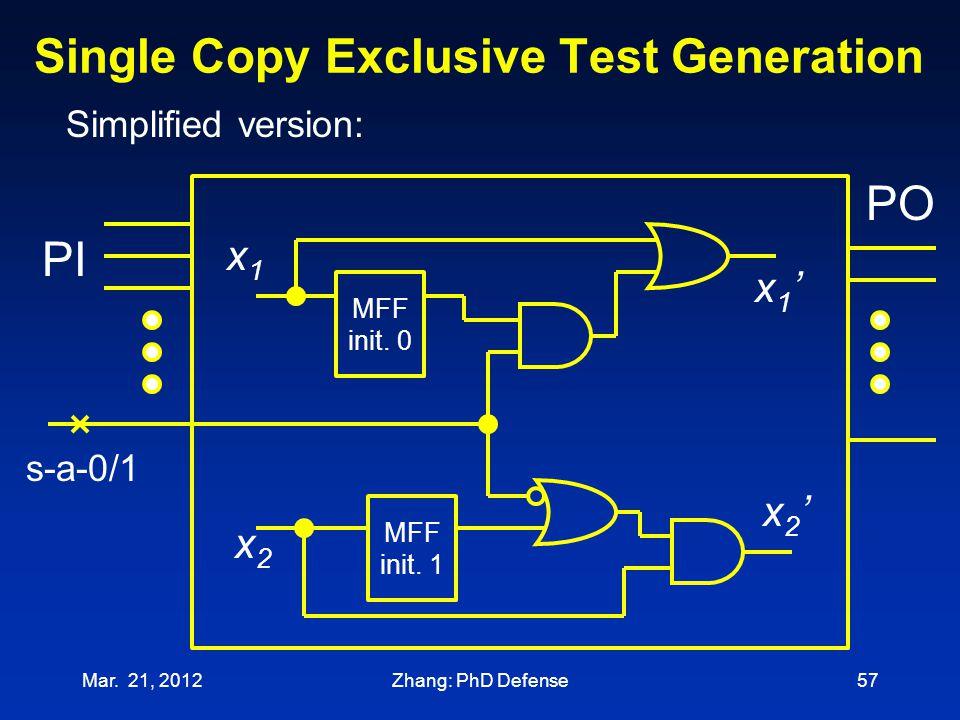 Single Copy Exclusive Test Generation Mar. 21, 201257 x1x1 x1'x1' x2'x2' x2x2 s-a-0/1 MFF init. 0 PO PI MFF init. 1 Simplified version: Zhang: PhD Def