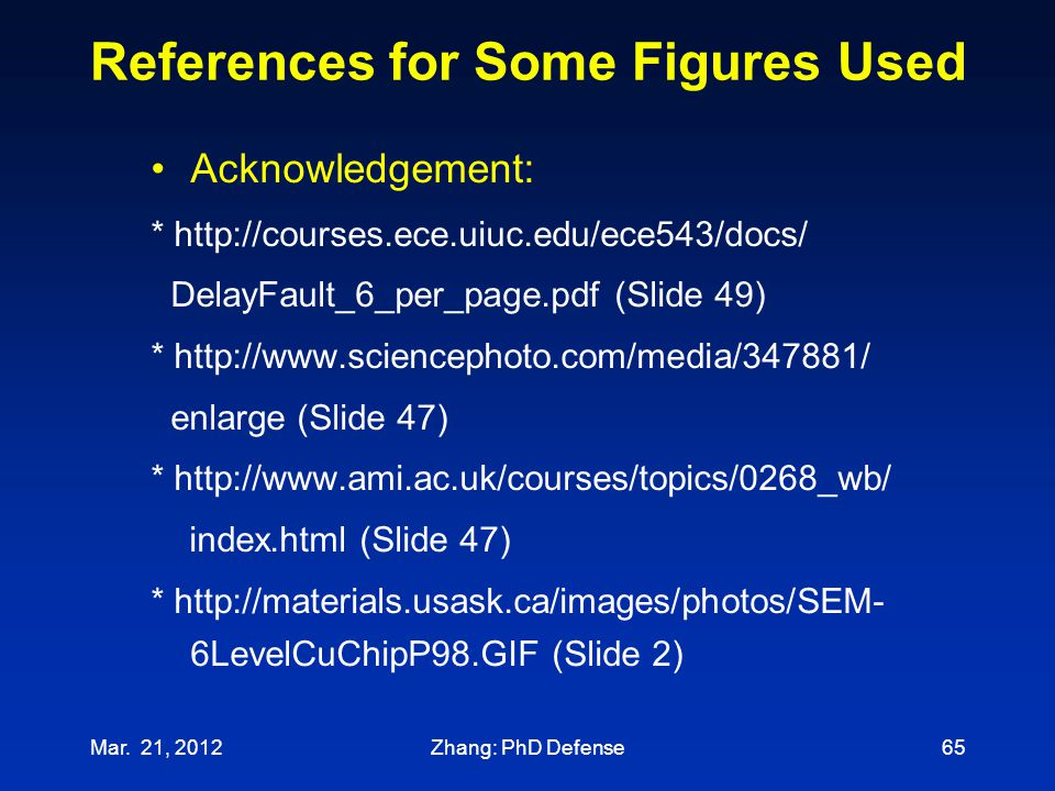 References for Some Figures Used Acknowledgement: * http://courses.ece.uiuc.edu/ece543/docs/ DelayFault_6_per_page.pdf (Slide 49) * http://www.science