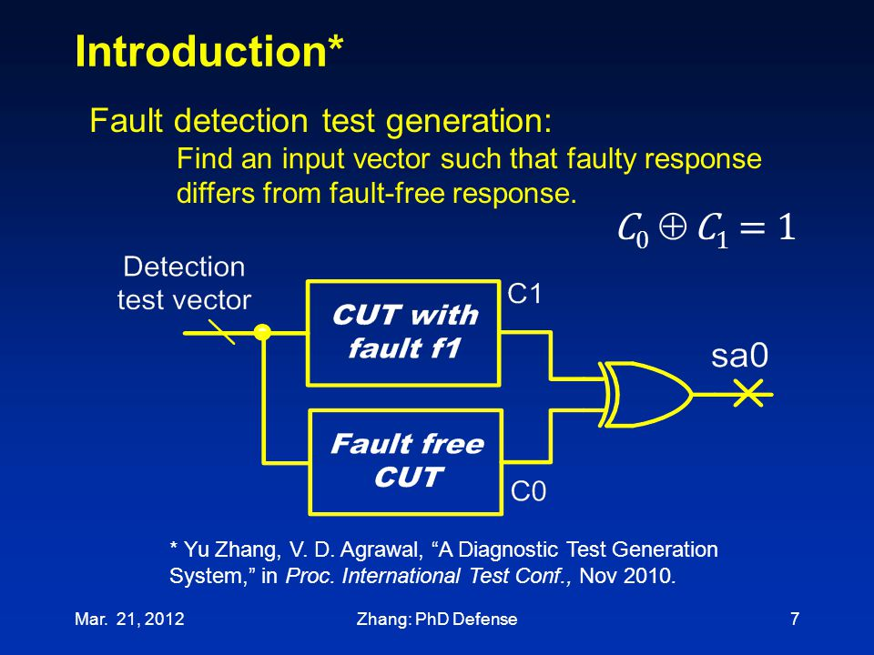 Introduction* Mar. 21, 20127 Fault detection test generation: Find an input vector such that faulty response differs from fault-free response. C0  C1