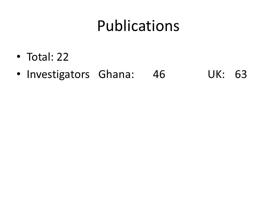 Publications Total: 22 InvestigatorsGhana: 46UK:63