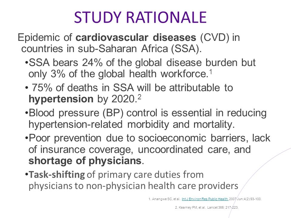 STUDY RATIONALE Epidemic of cardiovascular diseases (CVD) in countries in sub-Saharan Africa (SSA).