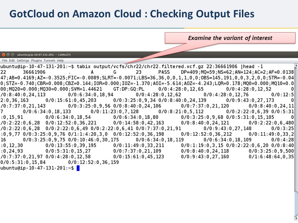 23 GotCloud on Amazon Cloud : Checking Output Files Examine the variant of interest