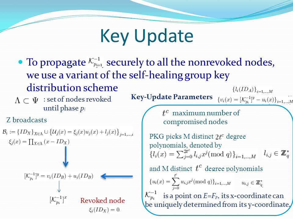 Key Update To propagate securely to all the nonrevoked nodes, we use a variant of the self-healing group key distribution scheme : set of nodes revoked until phase p i Z broadcasts maximum number of compromised nodes PKG picks M distinct degree polynomials, denoted by and M distinct degree polynomials is a point on E=F p, its x-coordinate can be uniquely determined from its y-coordinate.