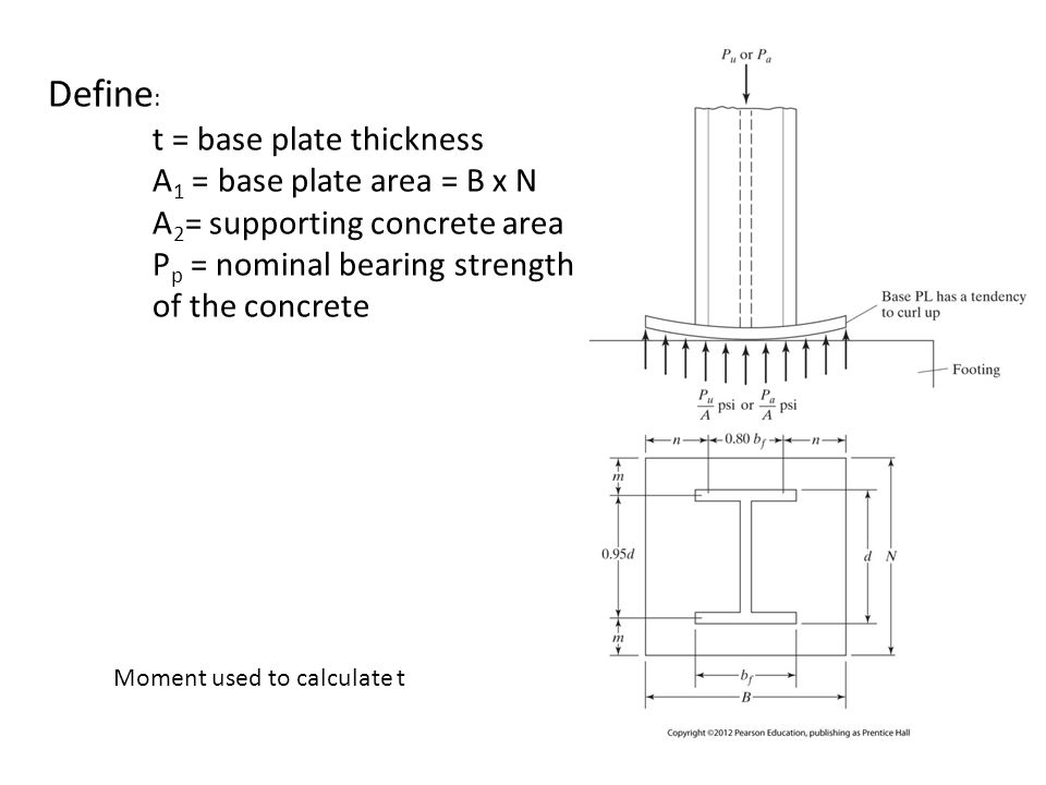 Define : t = base plate thickness A 1 = base plate area = B x N A 2 = supporting concrete area P p = nominal bearing strength of the concrete Moment u