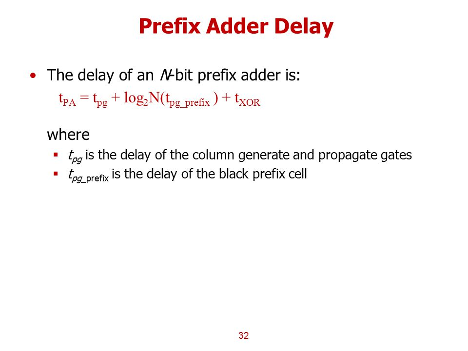 Prefix Adder Delay The delay of an N-bit prefix adder is: t PA = t pg + log 2 N(t pg_prefix ) + t XOR where  t pg is the delay of the column generate