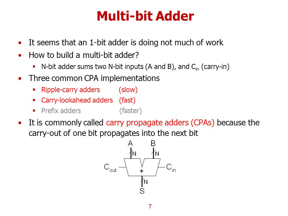 Multi-bit Adder It seems that an 1-bit adder is doing not much of work How to build a multi-bit adder?  N-bit adder sums two N-bit inputs (A and B),