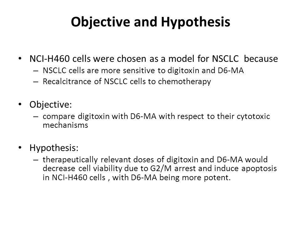 Objective and Hypothesis NCI-H460 cells were chosen as a model for NSCLC because – NSCLC cells are more sensitive to digitoxin and D6-MA – Recalcitrance of NSCLC cells to chemotherapy Objective: – compare digitoxin with D6-MA with respect to their cytotoxic mechanisms Hypothesis: – therapeutically relevant doses of digitoxin and D6-MA would decrease cell viability due to G2/M arrest and induce apoptosis in NCI-H460 cells, with D6-MA being more potent.