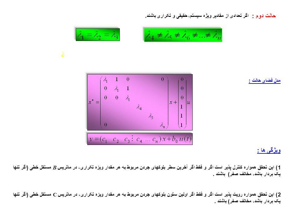 بدست آوردن تابع تبديل از معادلات فضاي حالت حالت اول : سيستمهای تک ورودی – تک خروجی (SISO) تبديل لاپلاس تابع تبديل يعني مقادير ويژه ماتريس A فيالواقع همان قطبهاي سيستم ميباشند.