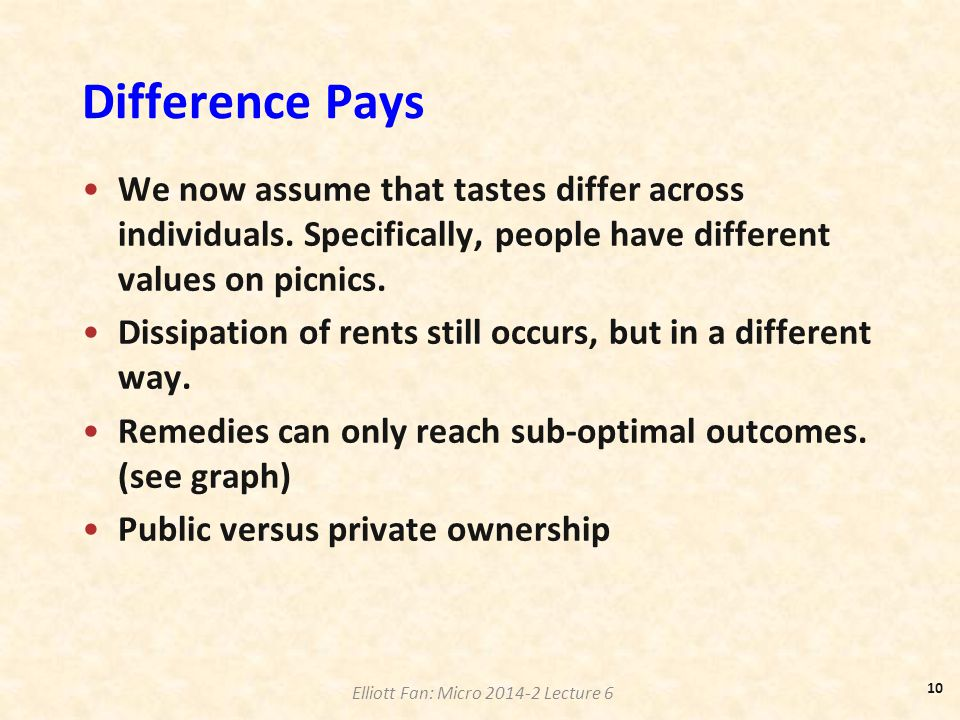 Difference Pays We now assume that tastes differ across individuals. Specifically, people have different values on picnics. Dissipation of rents still