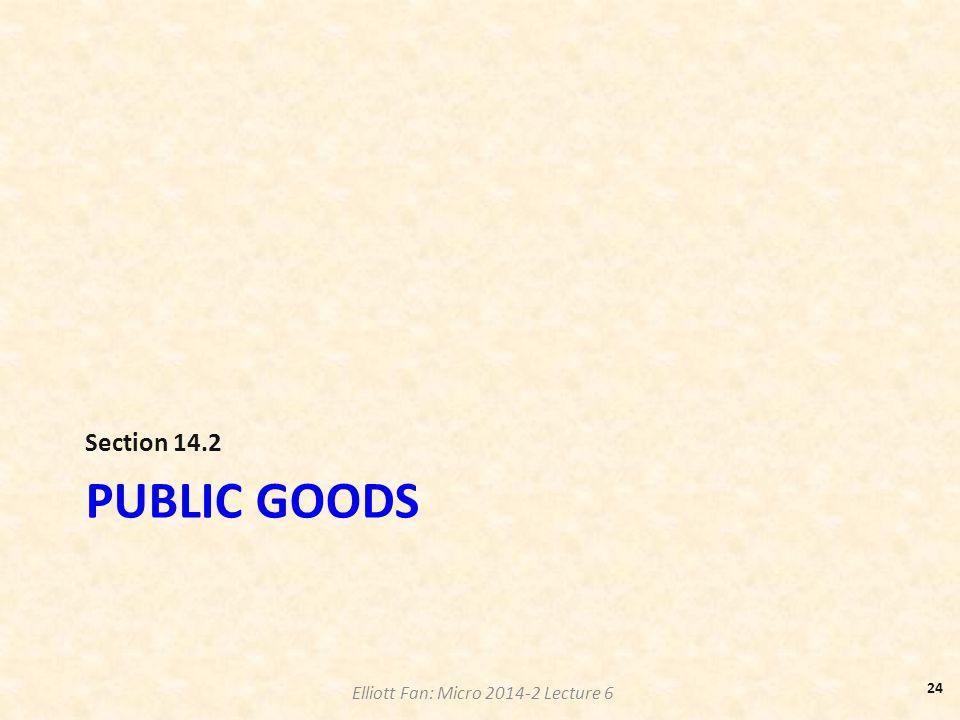 Elliott Fan: Micro 2014-2 Lecture 6 PUBLIC GOODS Section 14.2 24