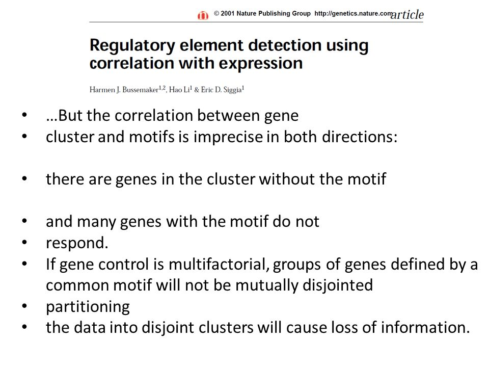 …But the correlation between gene cluster and motifs is imprecise in both directions: there are genes in the cluster without the motif and many genes with the motif do not respond.