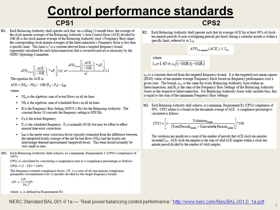 4 Control performance standards NERC Standard BAL-001-0.1a — Real power balancing control performance, http://www.nerc.com/files/BAL-001-0_1a.pdf.http://www.nerc.com/files/BAL-001-0_1a.pdf CPS1CPS2