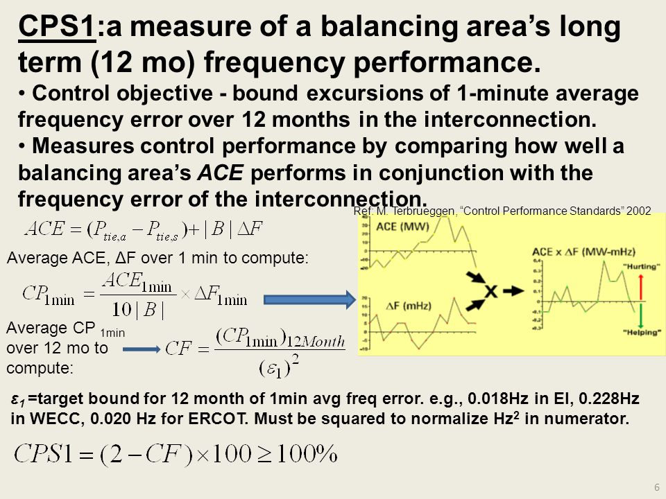 6 CPS1:a measure of a balancing area's long term (12 mo) frequency performance.
