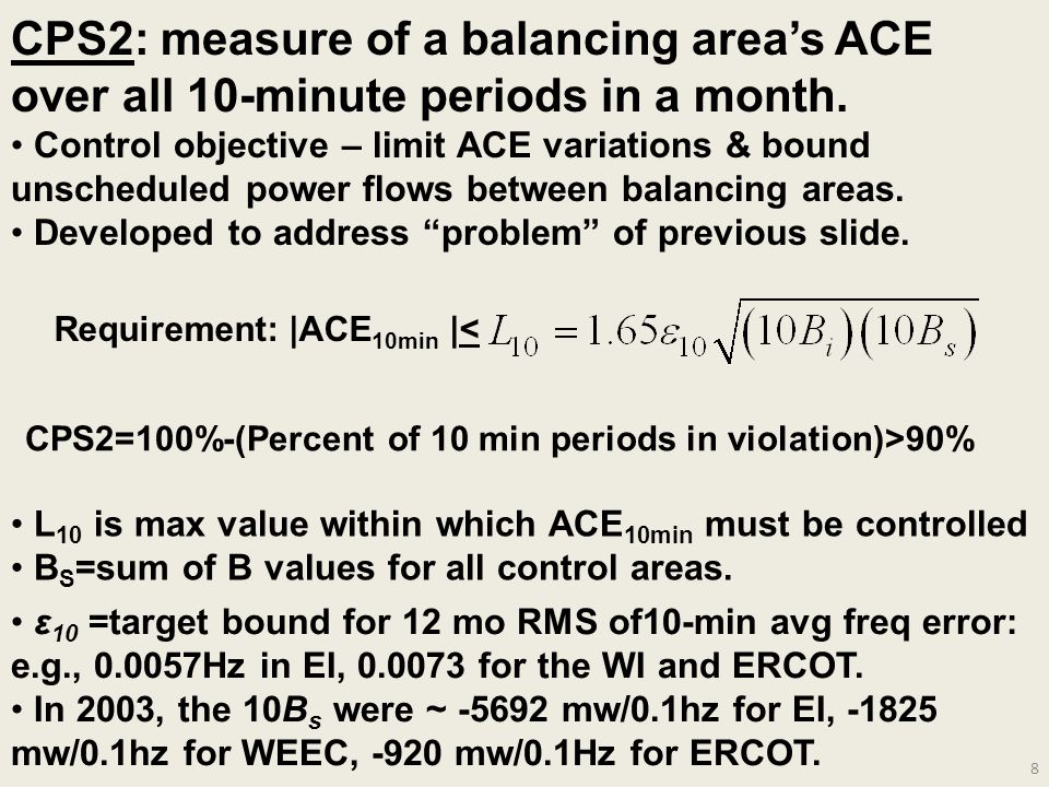 CPS2: measure of a balancing area's ACE over all 10-minute periods in a month.