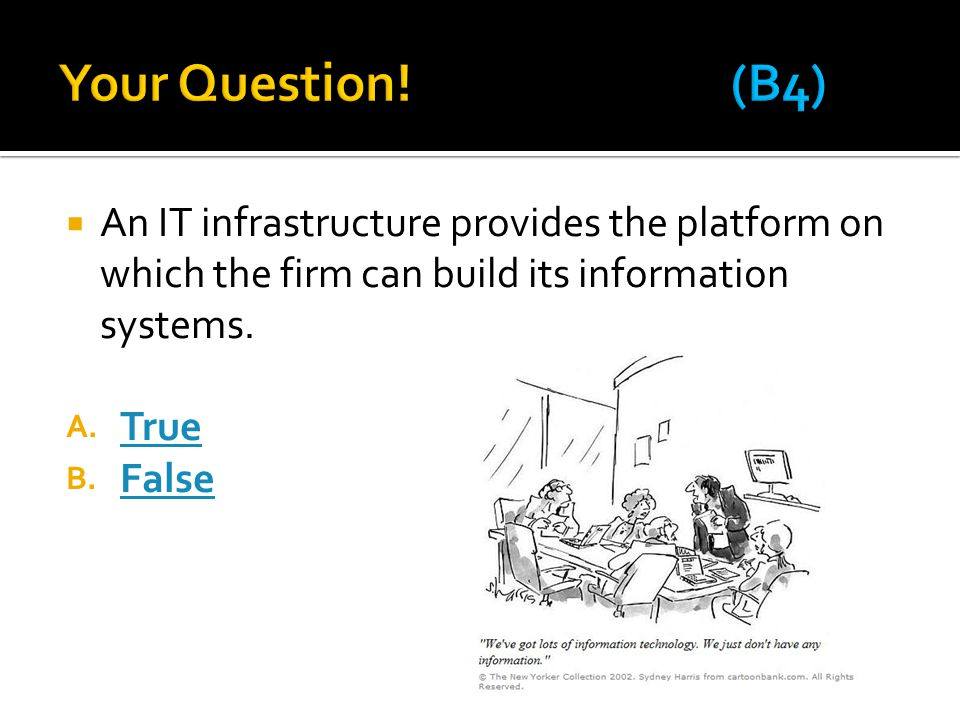  An IT infrastructure provides the platform on which the firm can build its information systems.