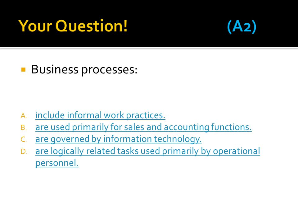  Business processes: A. include informal work practices.
