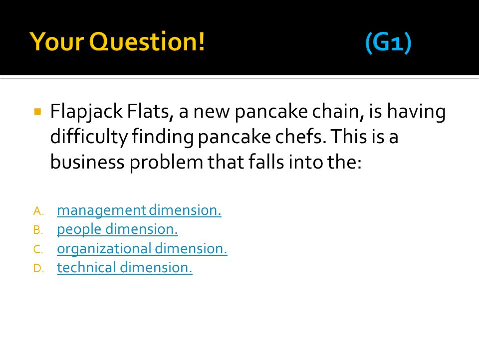  Flapjack Flats, a new pancake chain, is having difficulty finding pancake chefs.