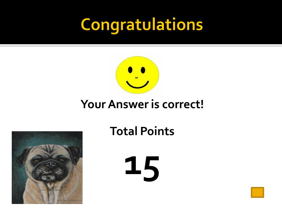Your Answer is correct! Total Points 15