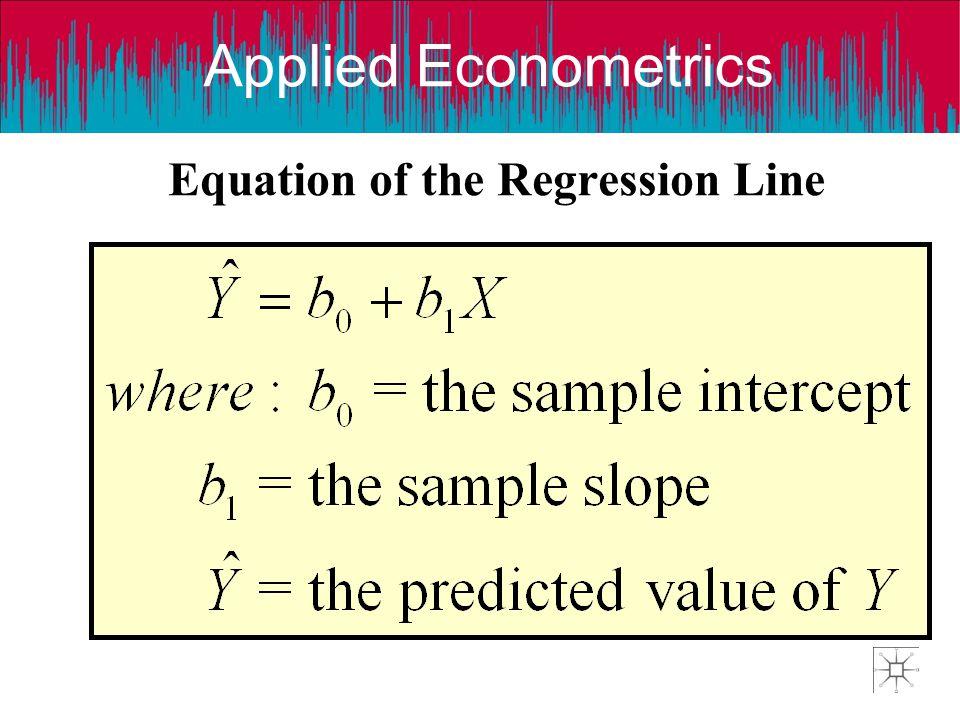 Applied Econometrics Equation of the Regression Line