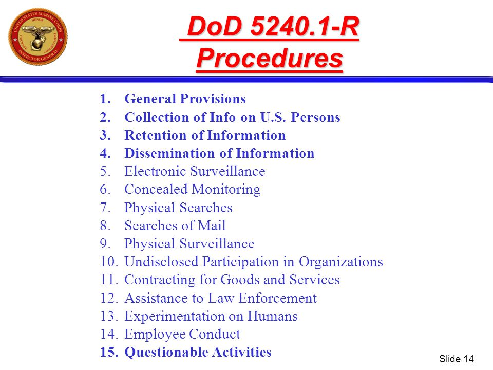 Slide 14 1.General Provisions 2.Collection of Info on U.S. Persons 3.Retention of Information 4.Dissemination of Information 5.Electronic Surveillance