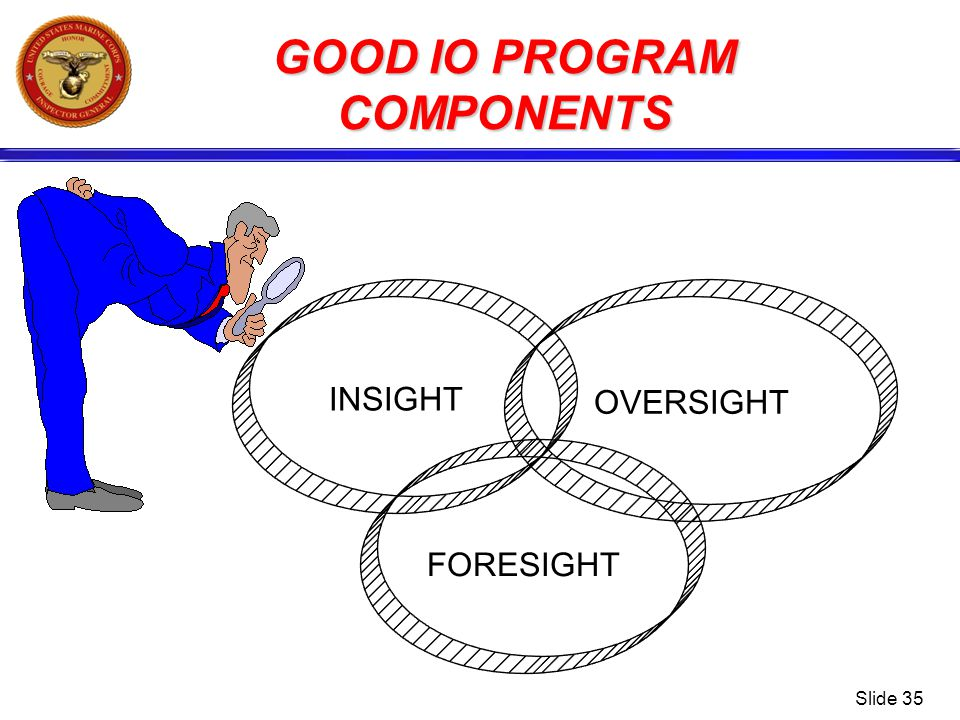 Slide 35 GOOD IO PROGRAM COMPONENTS FORESIGHT OVERSIGHT INSIGHT
