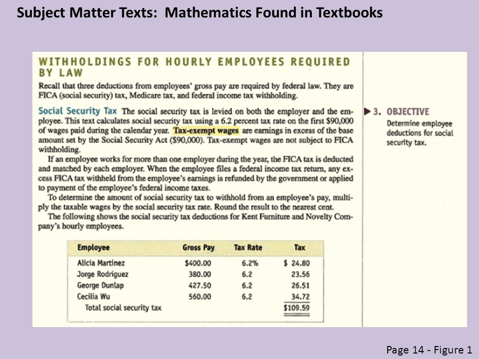 Subject Matter Texts: Mathematics Found in Textbooks Page 14 - Figure 1