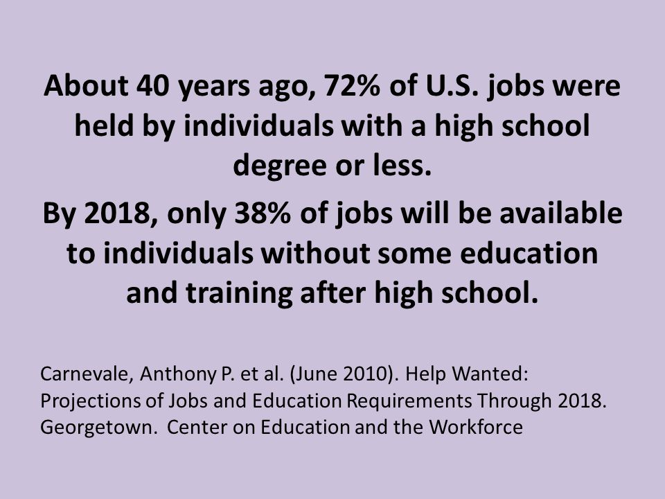 Nearly one-half of all job openings in the United States are middle skill jobs, all of which require at least some postsecondary education and training.