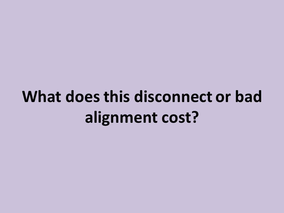 What does this disconnect or bad alignment cost