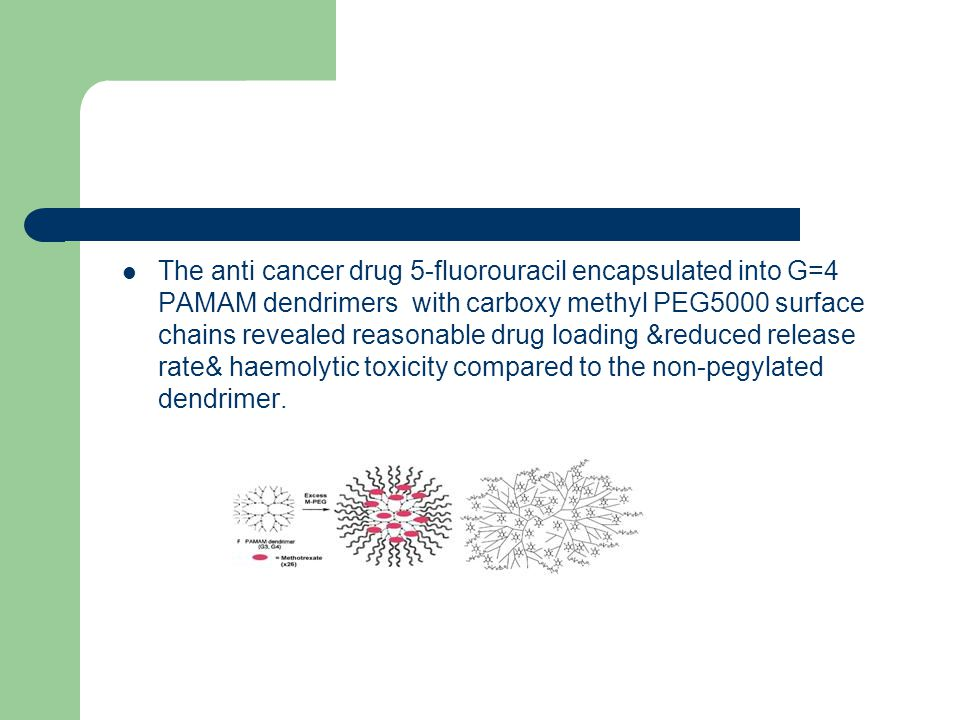The anti cancer drug 5-fluorouracil encapsulated into G=4 PAMAM dendrimers with carboxy methyl PEG5000 surface chains revealed reasonable drug loading &reduced release rate& haemolytic toxicity compared to the non-pegylated dendrimer.