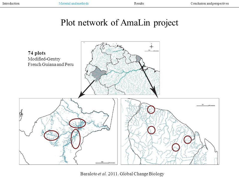 Plot network of AmaLin project Introduction Material and methodsResultsConclusion and perspectives 74 plots Modified-Gentry French Guiana and Peru Baraloto et al.