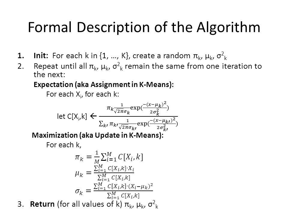 Formal Description of the Algorithm