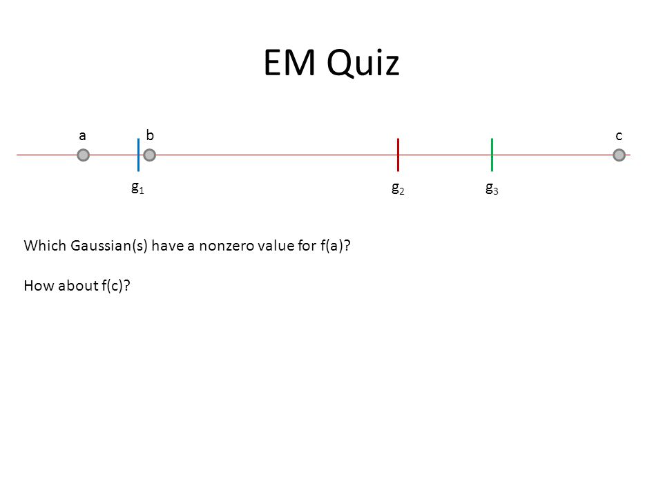 EM Quiz a b c g1g1 g2g2 g3g3 Which Gaussian(s) have a nonzero value for f(a)? How about f(c)?