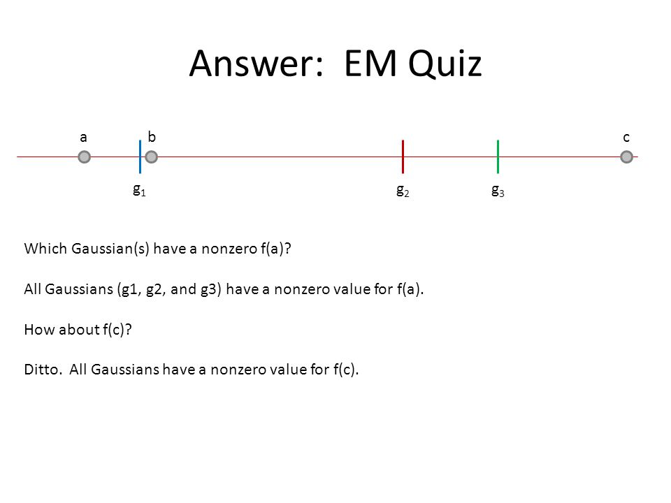 Answer: EM Quiz a b c g1g1 g2g2 g3g3 Which Gaussian(s) have a nonzero f(a)? All Gaussians (g1, g2, and g3) have a nonzero value for f(a). How about f(