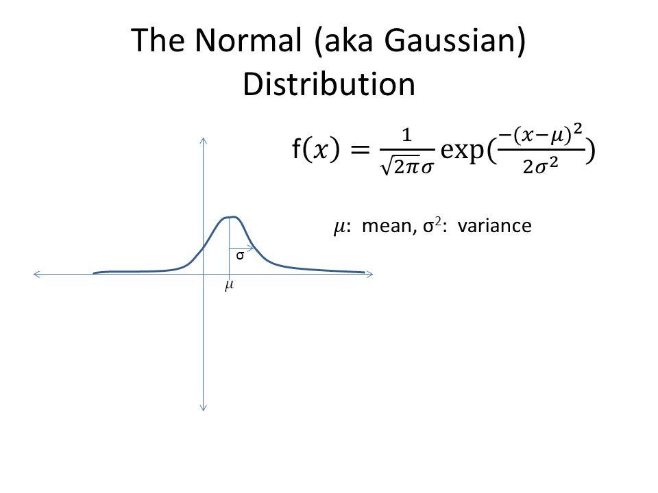 The Normal (aka Gaussian) Distribution σ
