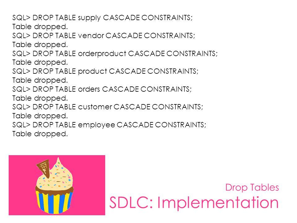 Drop Tables SDLC: Implementation SQL> DROP TABLE supply CASCADE CONSTRAINTS; Table dropped. SQL> DROP TABLE vendor CASCADE CONSTRAINTS; Table dropped.
