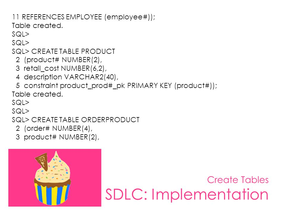 Create Tables SDLC: Implementation 11 REFERENCES EMPLOYEE (employee#)); Table created. SQL> SQL> CREATE TABLE PRODUCT 2 (product# NUMBER(2), 3 retail_