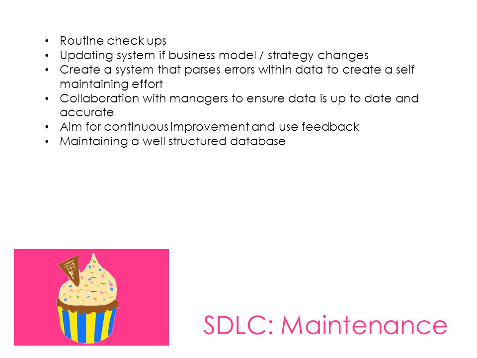 SDLC: Maintenance Routine check ups Updating system if business model / strategy changes Create a system that parses errors within data to create a se