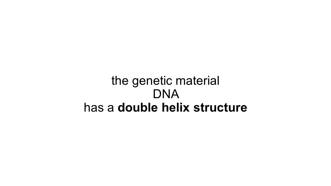 the genetic material DNA has a double helix structure