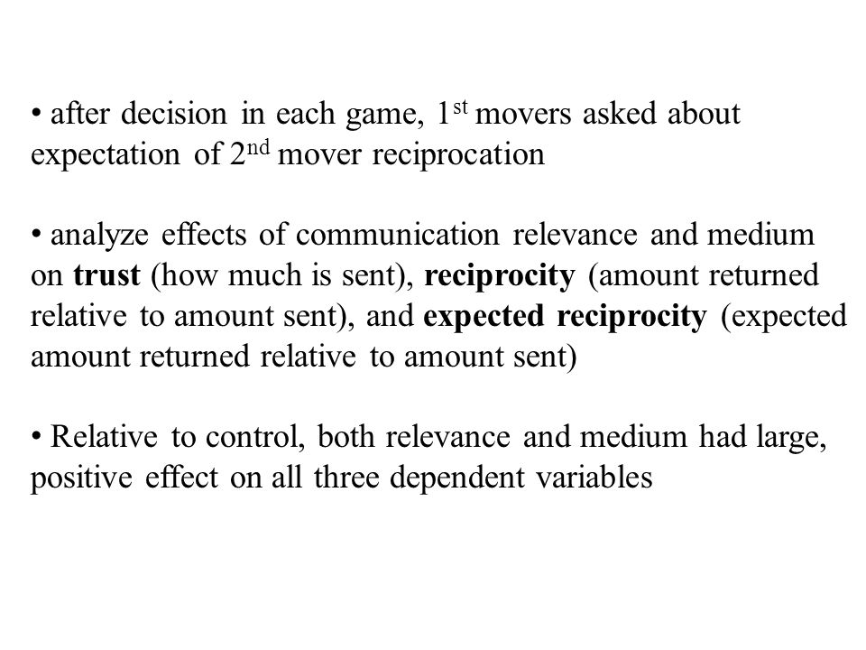 after decision in each game, 1 st movers asked about expectation of 2 nd mover reciprocation analyze effects of communication relevance and medium on