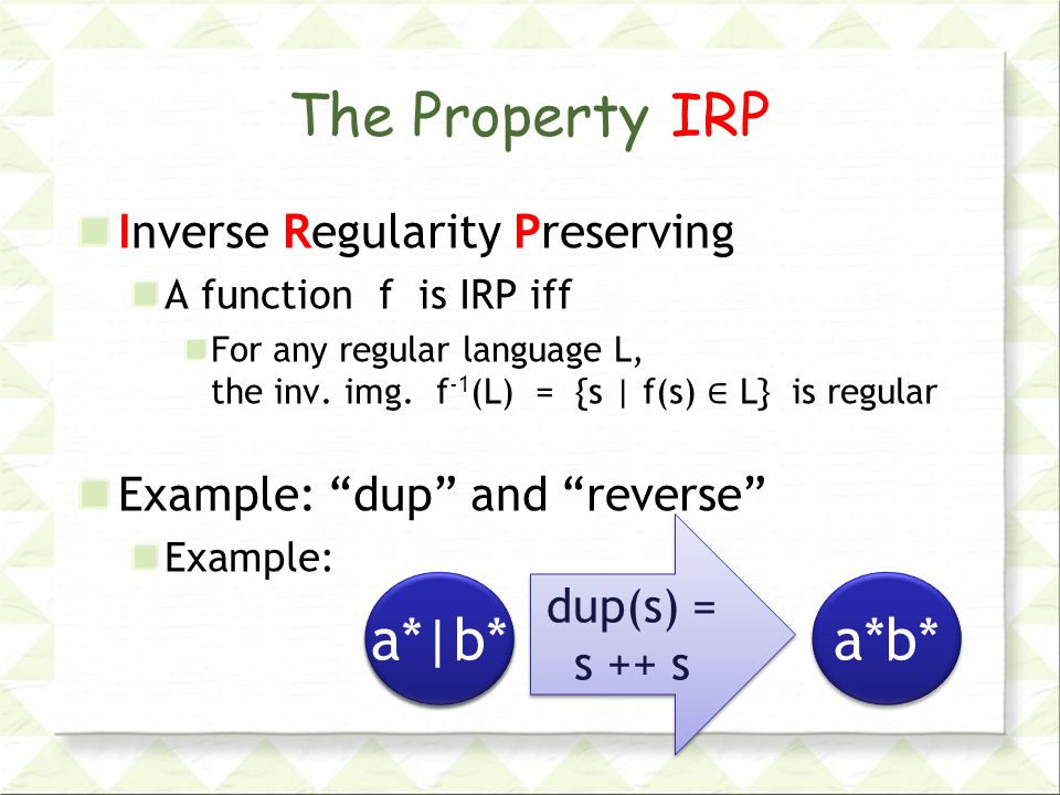 The Property IRP Inverse Regularity Preserving A function f is IRP iff For any regular language L, the inv.