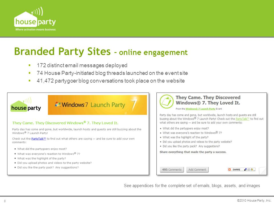 Branded Party Sites – online engagement Branded email and blog campaigns were deployed and managed throughout the event: See appendices for the comple