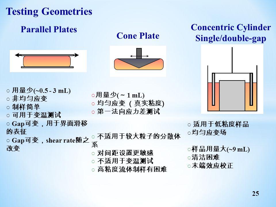 25 Parallel Plates ○ 用量少 (~0.5 - 3 mL) ○ 非均匀应变 ○ 制样简单 ○ 可用于变温测试 ○ Gap 可变,用于界面滑移 的表征 ○ Gap 可变, shear rate 随之 改变 Cone Plate ○ 用量少 ( ~ 1 mL) ○ 均匀应变 (真实粘度