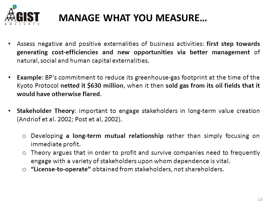 MANAGE WHAT YOU MEASURE… 14 Assess negative and positive externalities of business activities: first step towards generating cost-efficiencies and new opportunities via better management of natural, social and human capital externalities.