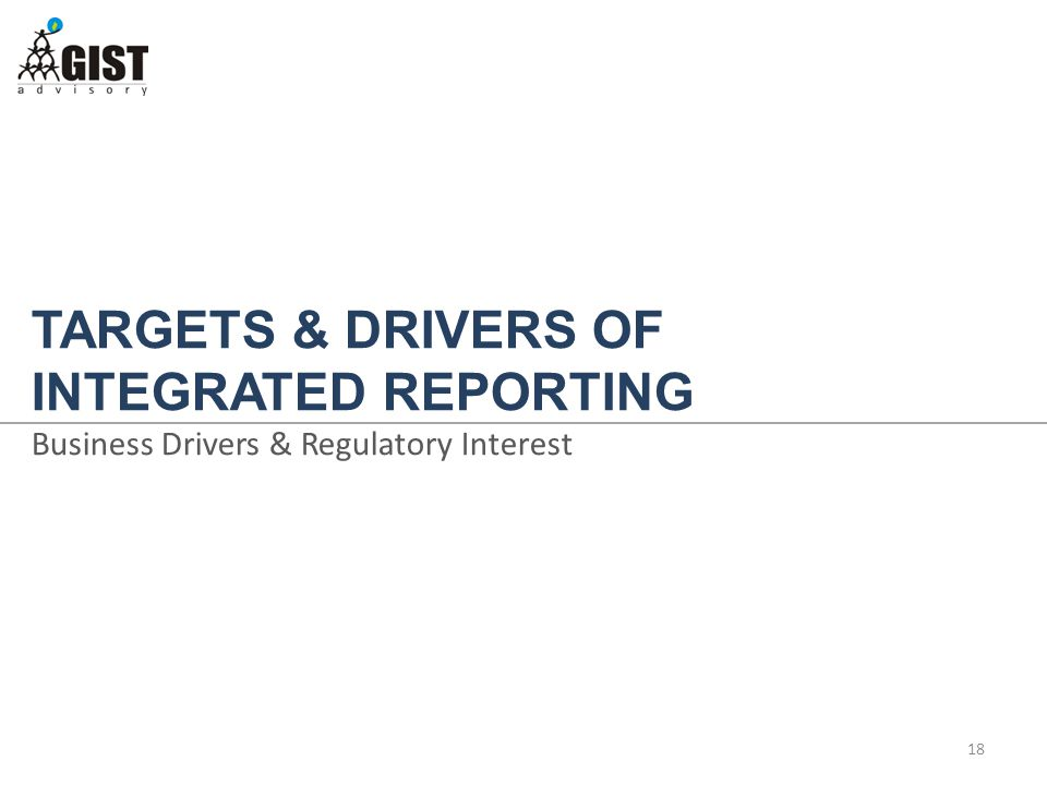 TARGETS & DRIVERS OF INTEGRATED REPORTING Business Drivers & Regulatory Interest 18