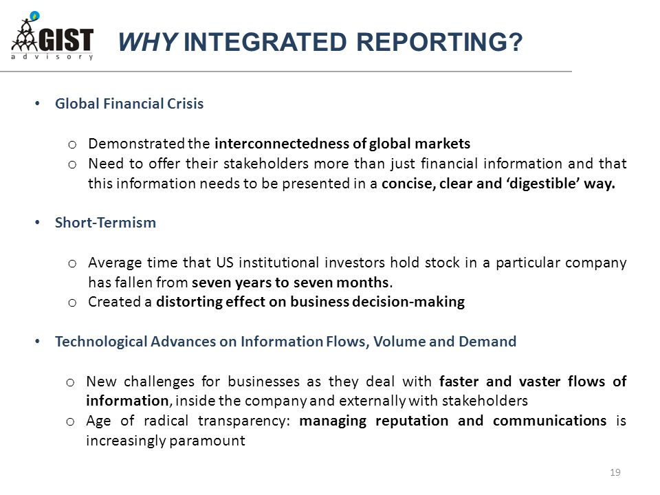 WHY INTEGRATED REPORTING.