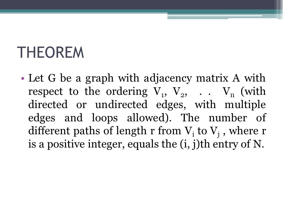 THEOREM Let G be a graph with adjacency matrix A with respect to the ordering V 1, V 2,.. V n (with directed or undirected edges, with multiple edges