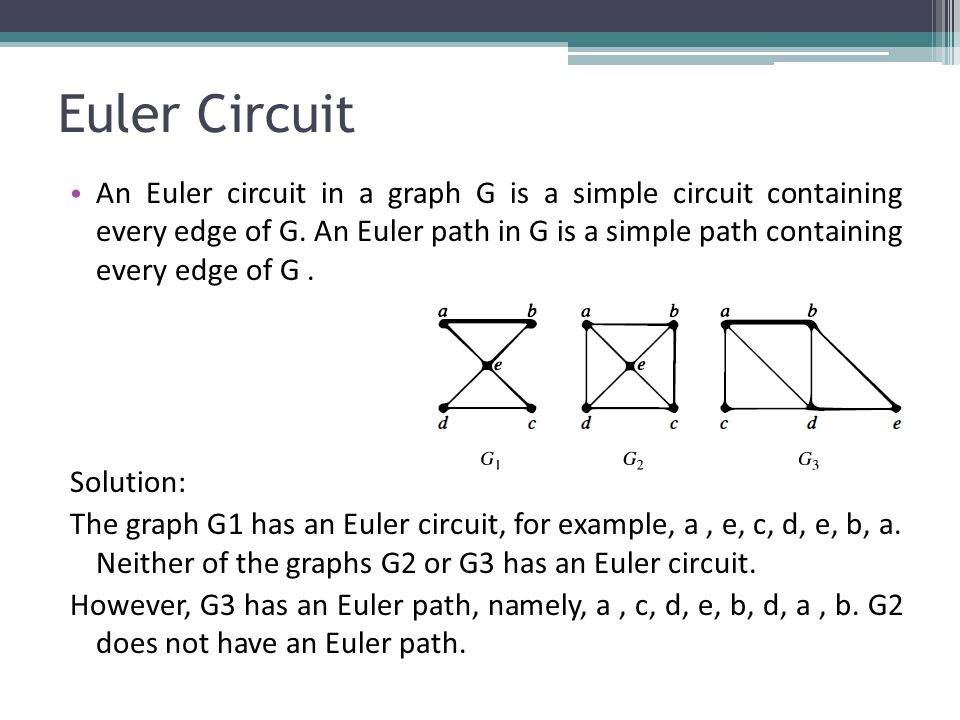Euler Circuit An Euler circuit in a graph G is a simple circuit containing every edge of G.