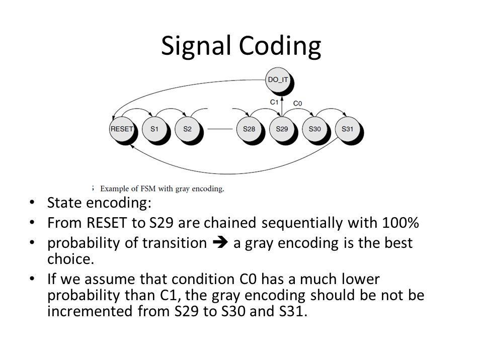 Signal Coding State encoding: From RESET to S29 are chained sequentially with 100% probability of transition  a gray encoding is the best choice. If