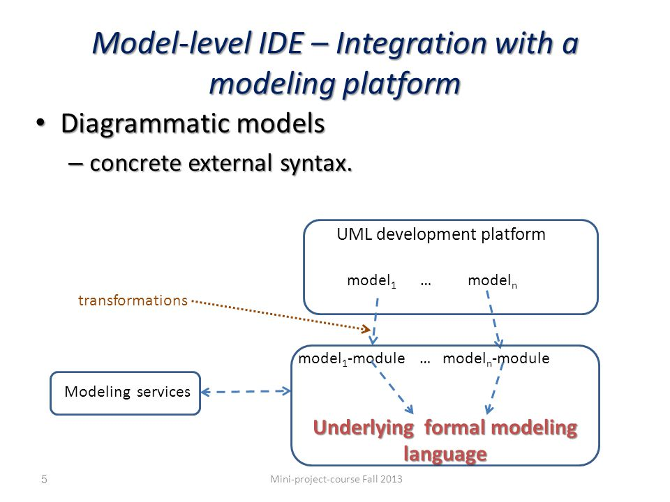 Model-level IDE – Integration with a modeling platform Diagrammatic models Diagrammatic models – concrete external syntax.
